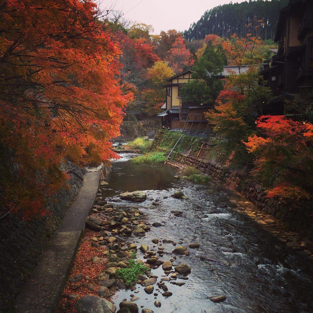 秋に見た黒川温泉近くの川と紅葉のコンビネーションが最高!